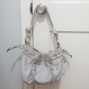 B. Makowsky light grey leather handbag